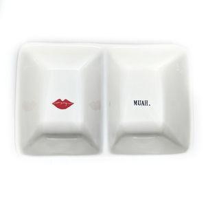 Rae Dunn Muah Ceramic Vanity Accessory Tray White